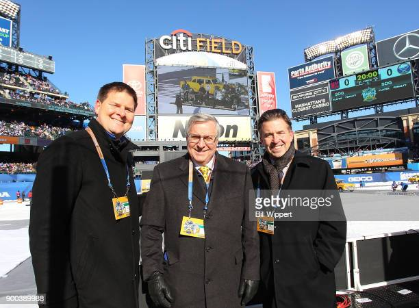 Buffalo Sabres general manager Jason Botterill, owner Terry Pegula, and president Russ Brandon pose during the 2018 Bridgestone NHL Winter Classic...
