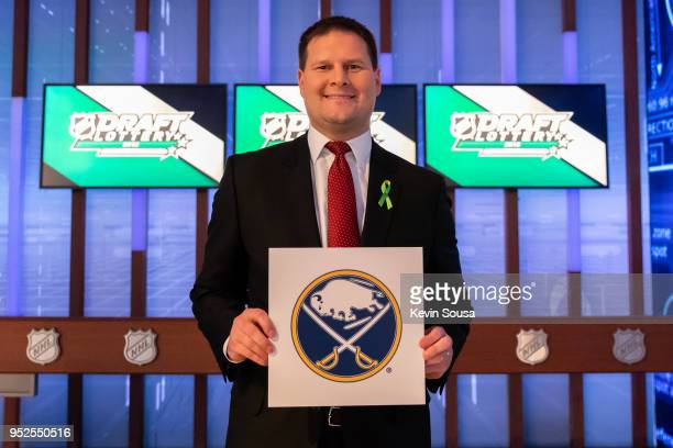Buffalo Sabres General Manager Jason Botterill shows off the first overall pick during the NHL Draft Lottery at the CBC Studios on April 28, 2018 in...