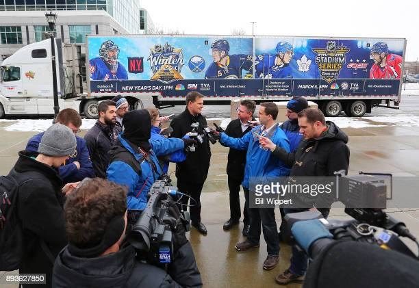 Buffalo Sabres general manager Jason Botterill speaks to media as the 2018 Bridgestone NHL Winter Classic Ice Plant makes a stop on December 15 2017...