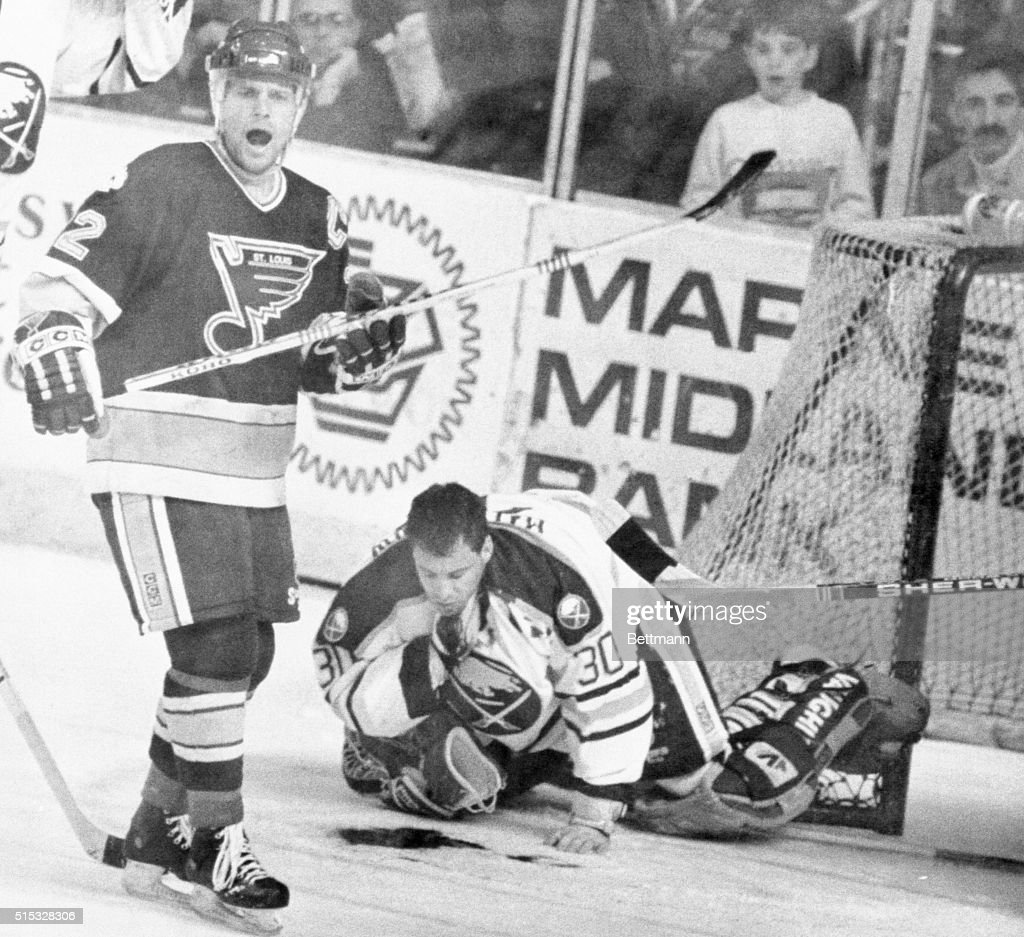Buffalo Sabres Goal Tender Clint Malarchuk Grasps His Throat After