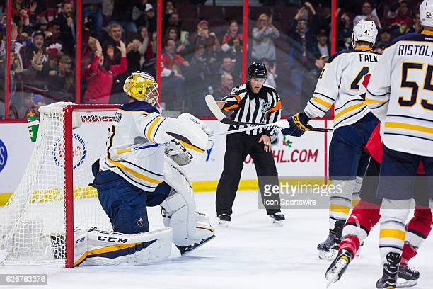 Buffalo Sabres Goalie Anders Nilsson argues for goaltender interference during second period National Hockey League action between the Buffalo Sabres...