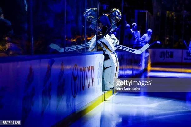 Buffalo Sabres Goalie Anders Nilsson enters the arena for the third period during the Toronto Maple Leafs and Buffalo Sabres NHL game on April 3 at...