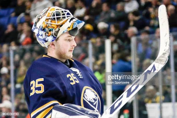 Buffalo Sabres Goalie Linus Ullmark looks on during the Columbus Blue Jackets and Buffalo Sabres NHL game on January 11 at KeyBank Center in Buffalo...