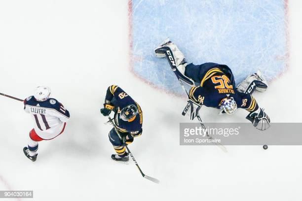 Buffalo Sabres Goalie Linus Ullmark prepares to make save during the Columbus Blue Jackets and Buffalo Sabres NHL game on January 11 at KeyBank...