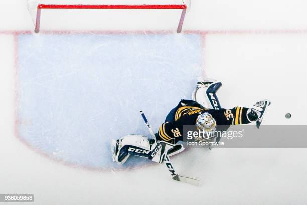 Buffalo Sabres Goalie Linus Ullmark reaches to glove shot during the Arizona Coyotes and Buffalo Sabres NHL game on October 21 at KeyBank Center in...