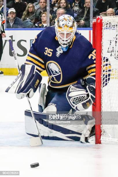 Buffalo Sabres Goalie Linus Ullmark tracks the puck during the Columbus Blue Jackets and Buffalo Sabres NHL game on January 11 at KeyBank Center in...