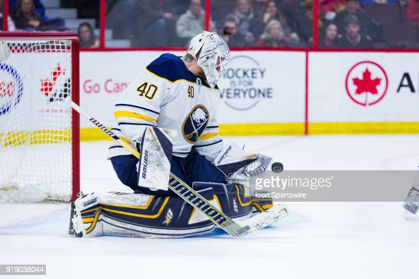Buffalo Sabres Goalie Robin Lehner prepares to make a save during second period National Hockey League action between the Buffalo Sabres and Ottawa...