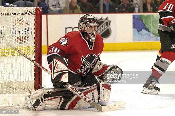 Buffalo Sabres goalie Ryan Miller guards the goal during a game against the Florida Panthers at HSBC Arena in Buffalo New York on February 11 2006...