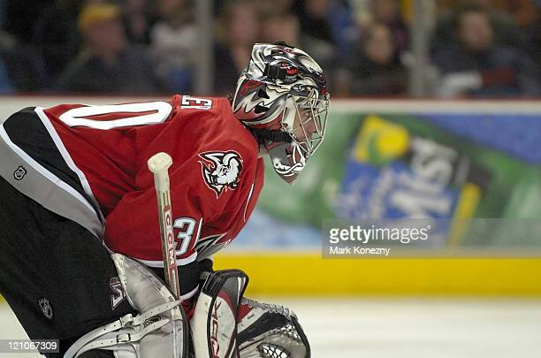 Buffalo Sabres goalie Ryan Miller in action during a game against the Florida Panthers at HSBC Arena in Buffalo New York on February 11 2006 Buffalo...