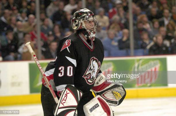 Buffalo Sabres goalie Ryan Miller in action during a game against the New York Islanders at HSBC Arena in Buffalo, New York on December 26, 2005....