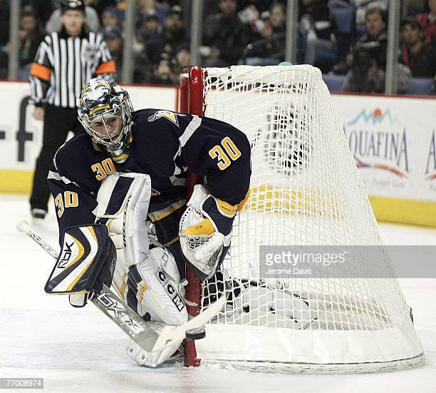 Buffalo Sabres' goalie Ryan Miller in action making a stick save during a game versus the Carolina Hurricanes at the HSBC Arena in Buffalo, NY,...