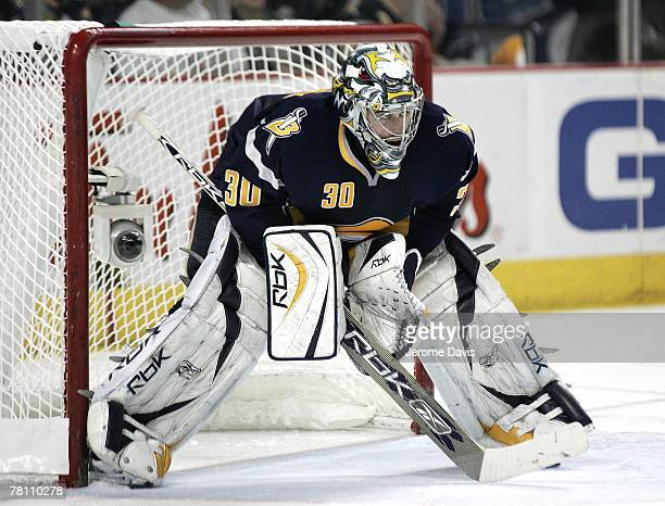 Buffalo Sabres goalie Ryan Miller watches the action on ice against the New York Rangers during Game 2 of the 2007 Eastern Conference Semifinals at...