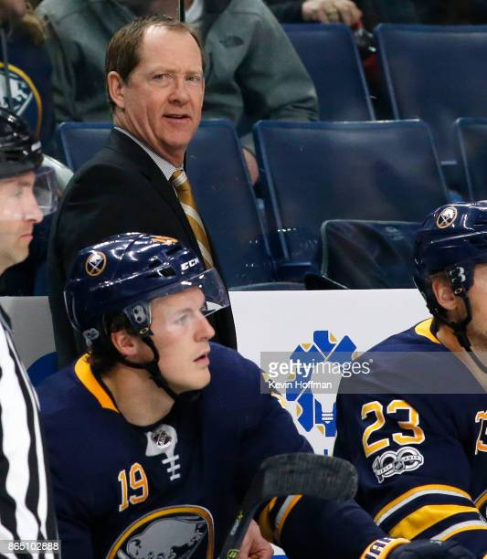 Buffalo Sabres head coach Phil Housley during the game against the Vancouver Canucks at the KeyBank Center on October 20 2017 in Buffalo New York