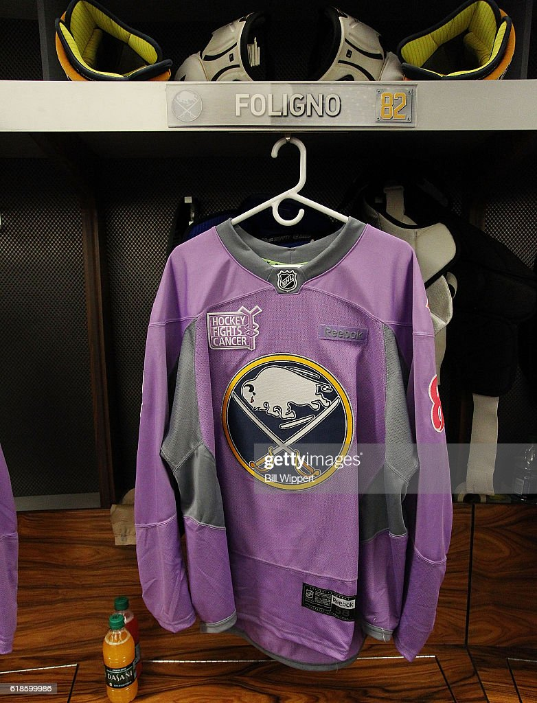 aa6d16f63 ... discount code for a buffalo sabres hockey fights cancer warmup jersey  hangs in the locker of