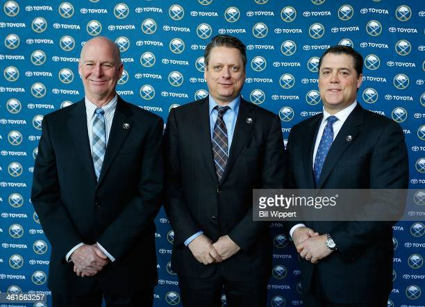 Buffalo Sabres president of hockey operations Pat LaFontaine welcomes special assistant and advisor to the hockey department Craig Patrick and...