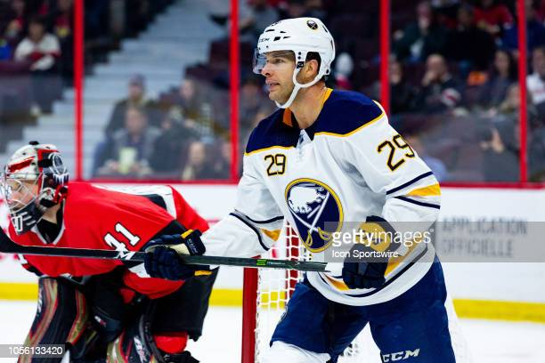 Buffalo Sabres Right Wing Jason Pominville sets up near the Ottawa Senators net during first period National Hockey League action between the Buffalo...