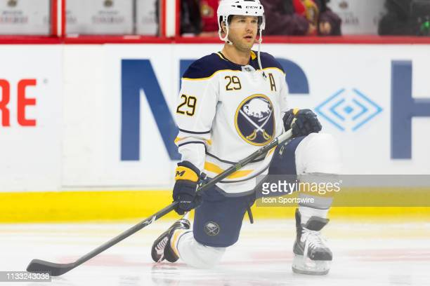 Buffalo Sabres Right Wing Jason Pominville stretches during warm-up before National Hockey League action between the Buffalo Sabres and Ottawa...