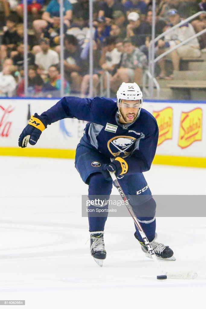 Buffalo Sabres Right Wing Justin Bailey (56) strides to loose puck during the French Connection Tournament at the Buffalo Sabres Development Camp on July 11, 2017, at HarborCenter in Buffalo, NY.