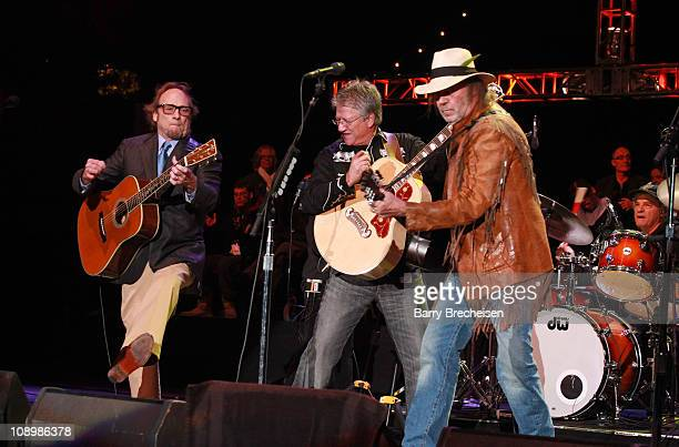 Buffalo Springfield's Stephen Stills Richie Furay and Neil Young perform at Neil Young's 24th Annual Bridge School Benefit Concert Day 1 at Shoreline...