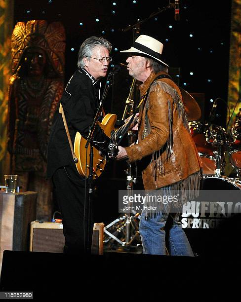 Buffalo Springfild singers Richie Furay and Neil Young open their reunion tour at the Wiltern Theatre on June 4 2011 in Los Angeles California
