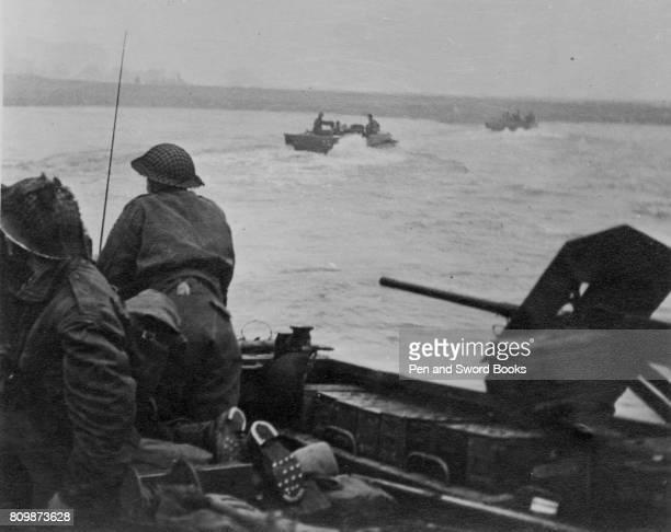 Buffalo tanks crossing the Rhine
