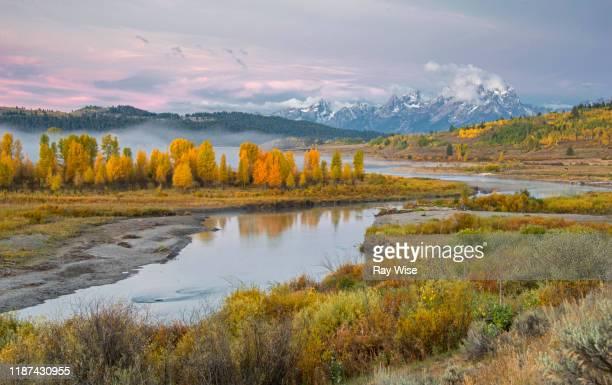 buffalo valley and fork river sunrise - グランドティトン国立公園 ストックフォトと画像