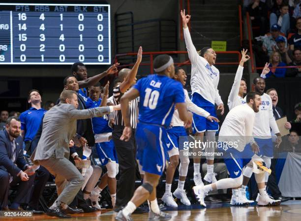 Buffalo's bench explodes after a 3pointer that started to distance them from Arizona in the NCAA Tournament's West Regional on Thursday March 15 at...