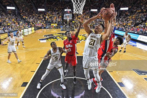 Buffen of the Mississippi Rebels blocks the shot of Jaime Echenique of the Wichita State Shockers from behind, during the second half on January 4,...
