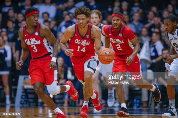 Buffen of the Mississippi Rebels brings the ball up court during the game against the Butler Bulldogs at Hinkle Fieldhouse on November 16 2018 in...