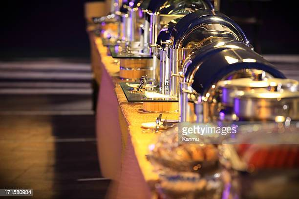 buffet at night - banquet stock pictures, royalty-free photos & images