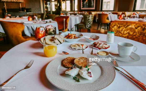 buffet continental breakfast in amsterdam - hotel breakfast stock pictures, royalty-free photos & images