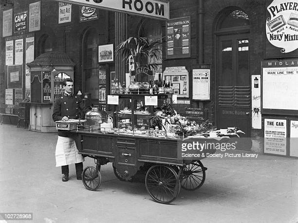 Buffet refreshment trolley with attendant Derby station Derbyshire 23 February 1908 Buffet refreshment trolley with attendant Derby station...