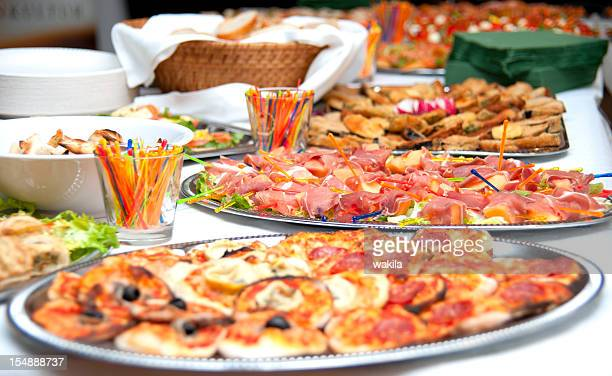 buffet with mini-pizza