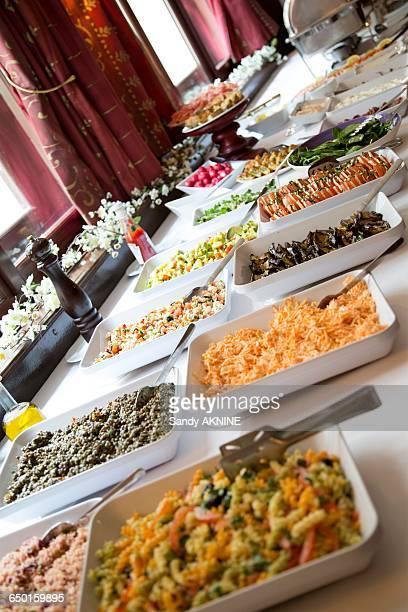 Buffet with various fresh salads a brunch