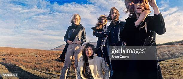 Buffin, Mick Ralphs, Overend Watts, Verden Allen, Ian Hunter, Mott The Hoople pose for their Wildlife album cover on Carlton Bank in the Cleveland...
