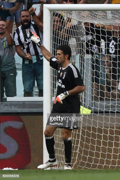 Buffon celebrates after the penalty kick saved during the Serie A football match n1 JUVENTUS CAGLIARI on at the Allianz Stadium in Turin Italy