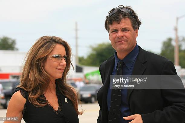 Buffy and Michael Waltrip attend funeral service for Bill France Jr at Mary McLeod Bethune Performing Arts Center June 7 2007 in Daytona Beach...