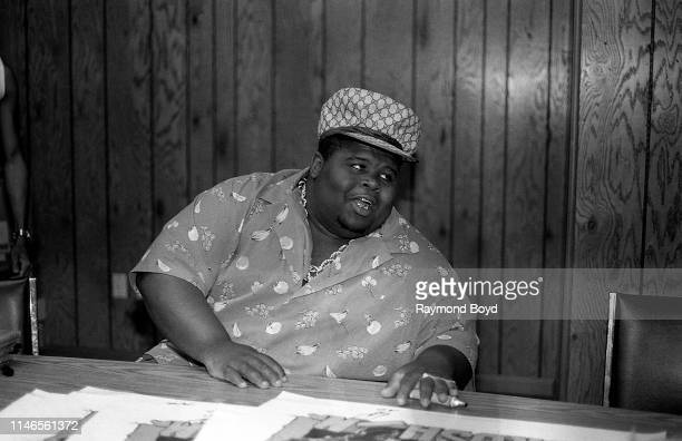 Buffy from The Fat Boys signs autographs at Billy Goat Tavern on Lower Wacker Drive in Chicago Illinois in June 1987