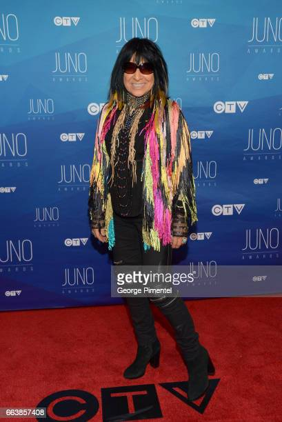 Buffy Sainte Marie arrives at the 2017 Juno Awards at Canadian Tire Centre on April 2 2017 in Ottawa Canada