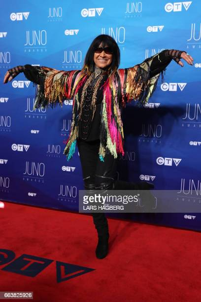 Buffy Sainte Marie arrives on the red carpet before the JUNO awards at the Canadian Tire Centre in Ottawa Ontario on April 2 2017 / AFP PHOTO / Lars...