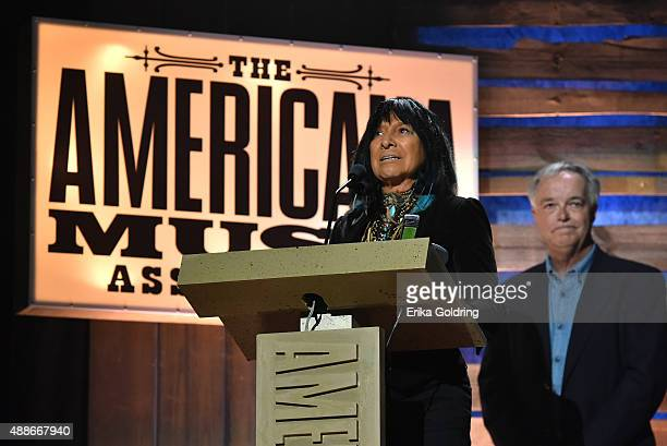 Buffy SainteMarie accepts the Spirit of Americana Award at the 14th annual Americana Music Association Honors and Awards Show at the Ryman Auditorium...