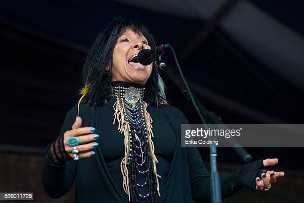 Buffy SainteMarie performs at Fair Grounds Race Course on April 28 2016 in New Orleans Louisiana