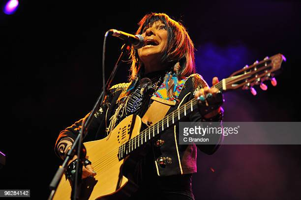 Buffy SainteMarie performs on stage at Shepherds Bush Empire on January 30 2010 in London England