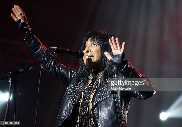 Buffy SainteMarie performs on stage during day five of the Bluesfest Music Festival at Tyagarah Tea Tree Farm on April 25 2011 in Byron Bay Australia