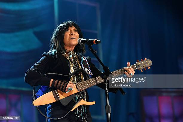 Buffy SainteMarie performs onstage at the 14th annual Americana Music Association Honors and Awards Show at the Ryman Auditorium on September 16 2015...