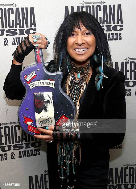 Buffy SainteMarie poses backstage with the Spirit of Americana Award at the 14th annual Americana Music Association Honors and Awards Show at the...