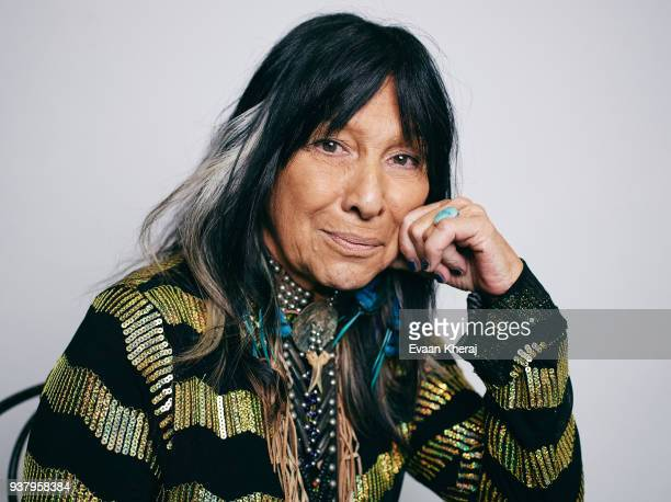 Buffy SainteMarie poses for a portrait at the YouTube x Getty Images Portrait Studio at 2018 Juno's Gala Awards Dinner on MARCH 25th 2018 in...