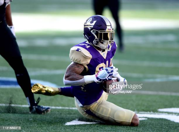 Bug Howard of Atlanta Legends catches a pass against the Birmingham Iron during the first quarter of the Alliance of American Football game at...