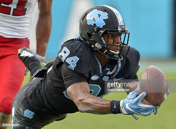 Bug Howard of the North Carolina Tar Heels in action against the North Carolina State Wolfpack during their game at Kenan Stadium on November 25 2016...