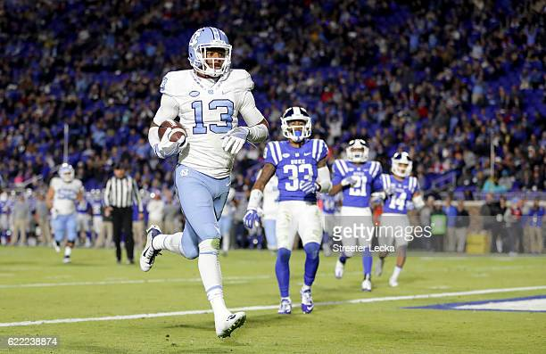 Bug Howard of the North Carolina Tar Heels scores a touchdown against the Duke Blue Devils during their game at Wallace Wade Stadium on November 10...